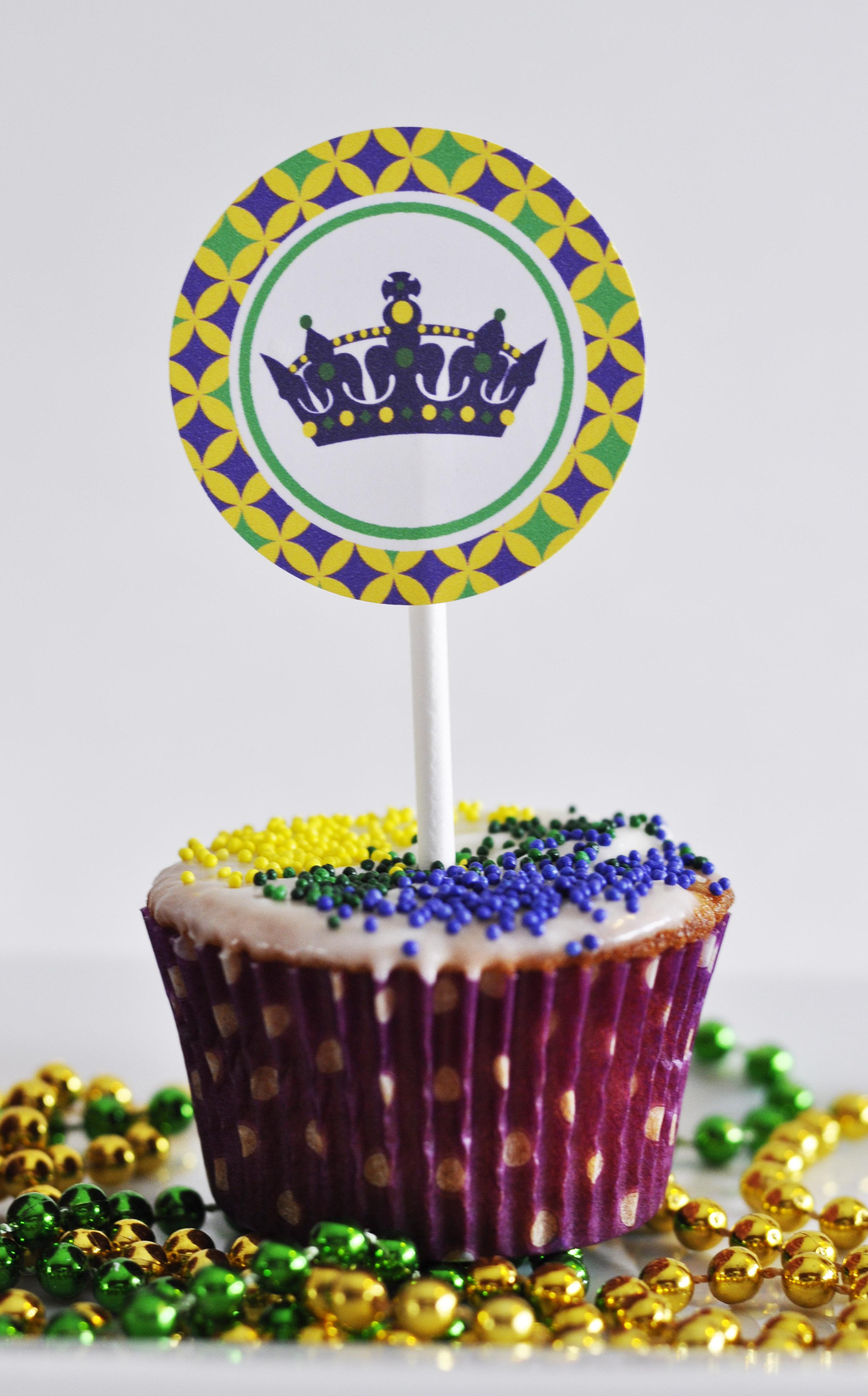 {Mardi Gras} Cupcake Topper Free Printables