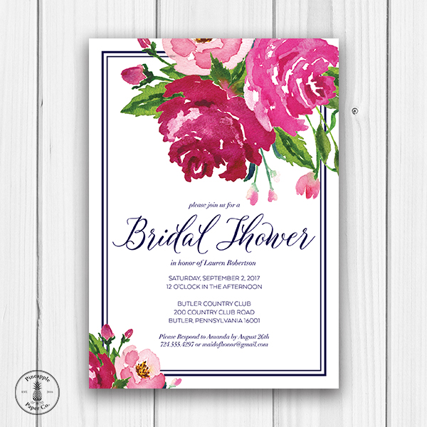 floral and navy bridal shower invitation front