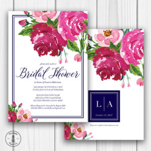 Floral and Navy Bridal Shower Invitation