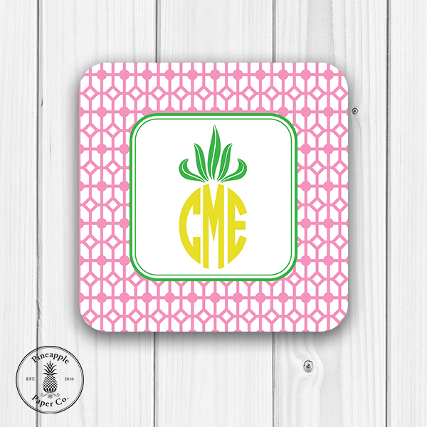 Pineapple Monogram Coasters