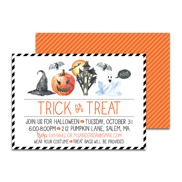 trick or treat halloween personalized invitation pineapple paper co .