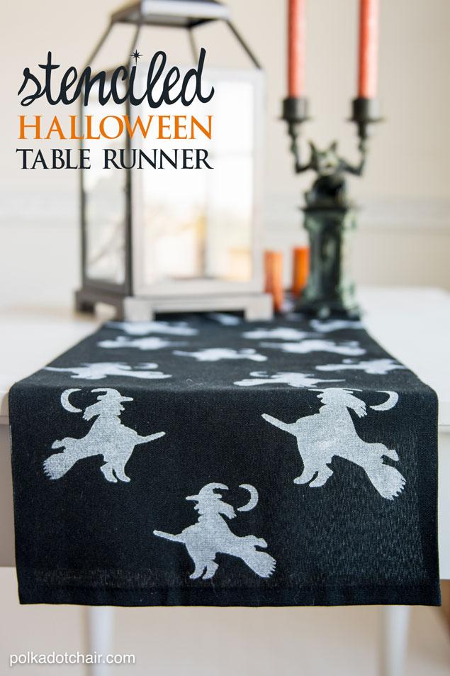 Stenciled DIY Halloween Table Runner