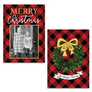 Red and Black Buffalo Check with Boxwood Wreath Christmas Photo Card