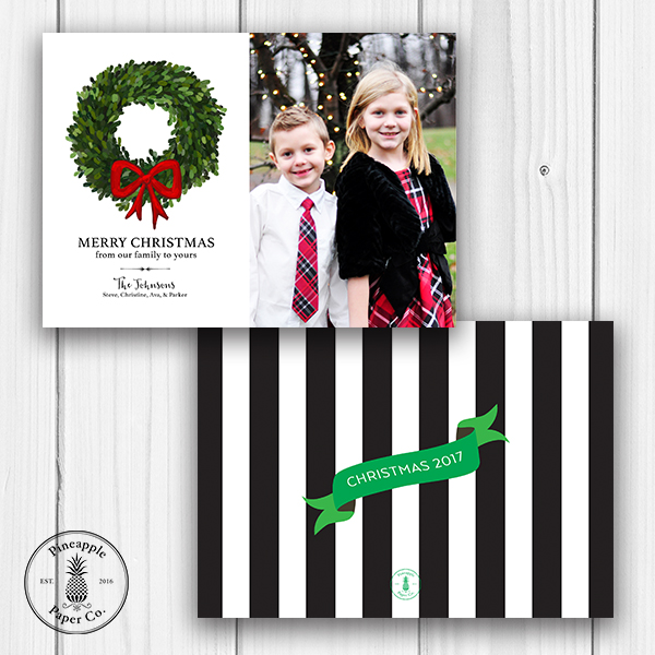 Boxwood Wreath Christmas Photo Card