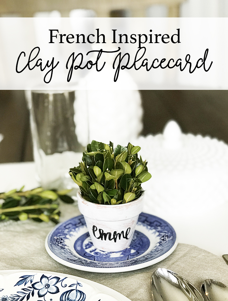 Simple French Inspired Clay Pot Place Card