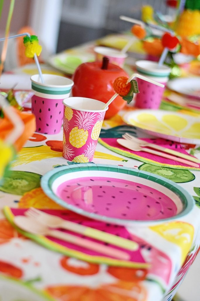 Twotti Fruity Party Tablescape seen on Karas Party Ideas