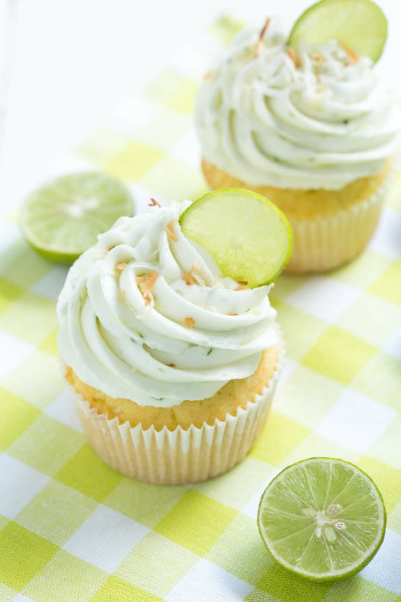 Coconut Cupcakes with Key Lime Frosting by Spoonful of Flavor