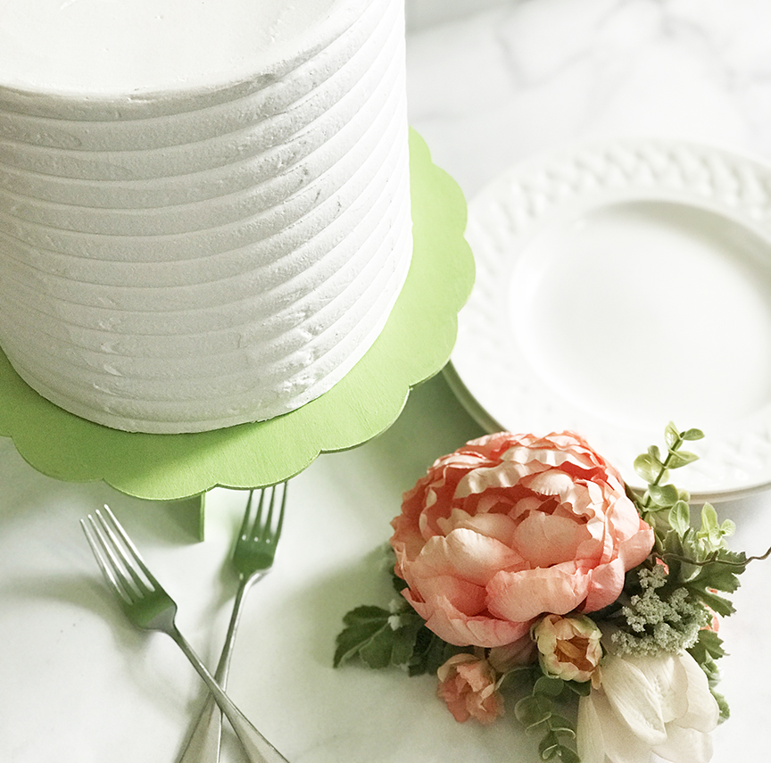 DIY Jadeite Cake Stand with Plates and Flowers by Pineapple Paper Co.