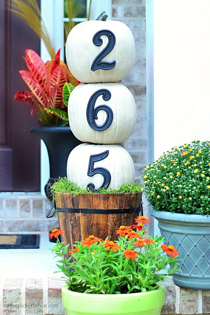 DIY Pumpkin Topiary House Number Display