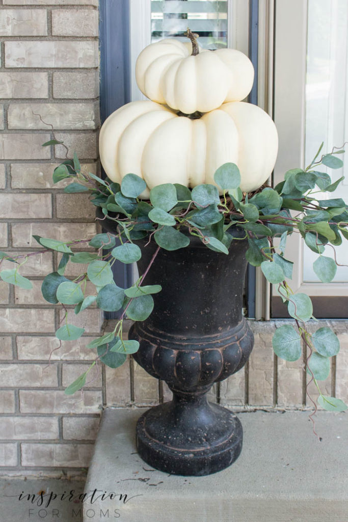 DIY White Pumpkin Topiary