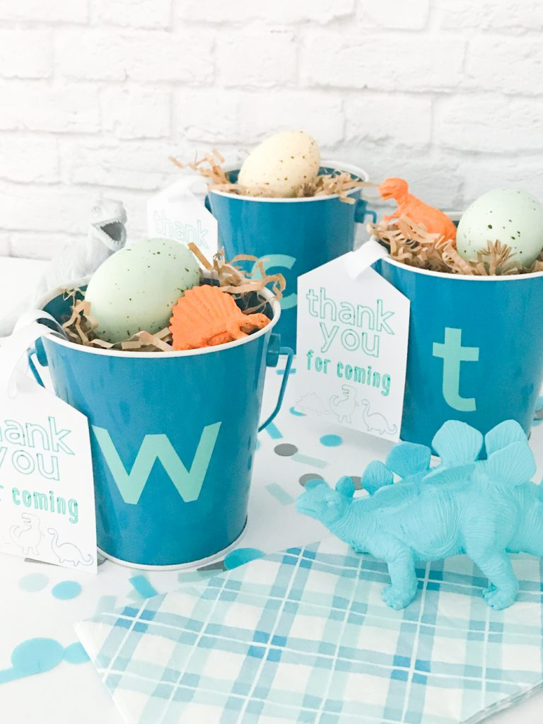 DIY Dinosaur Party Favor Buckets with DIY Favor Tags and Dinosaur Eggs using the Martha Stewart Cricut Explore Air 2