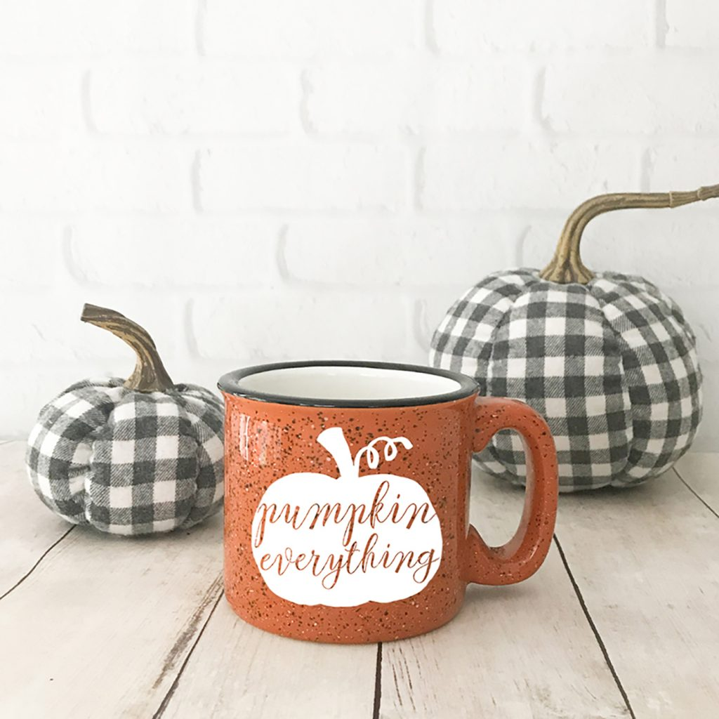 Orange Pumpkin Everything Mug with Black and White Buffalo Check Pumpkins
