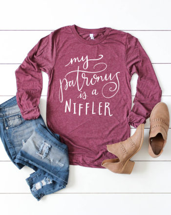 "Download a FREE Harry Potter SVG and make your own Fantastic Beasts Shirt ""My Patronus is a Niffler"" by Pineapple Paper Co."