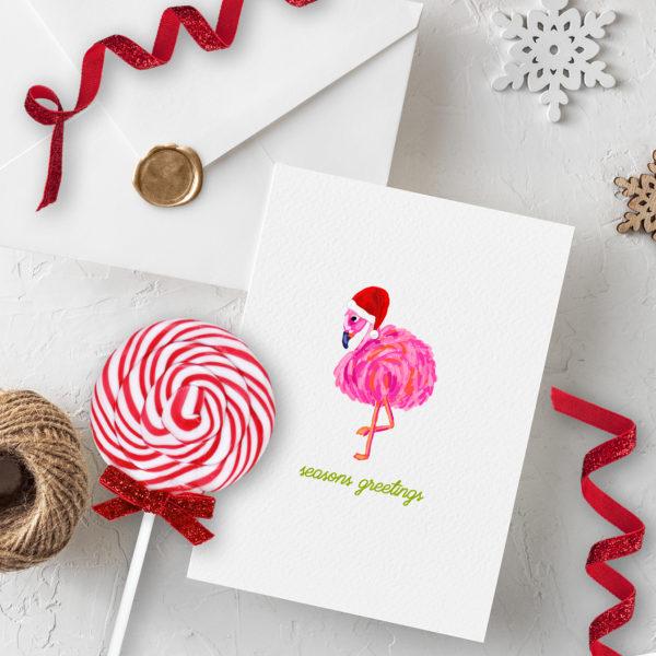Santa Flamingo Printable Christmas Card by Pineapple Paper Co.