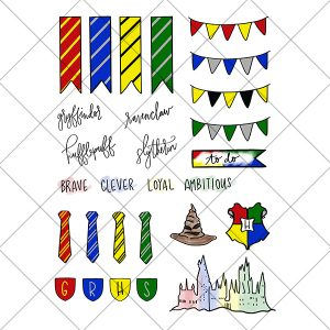 Harry Potter Hogwarts Houses Inspired Digital Printable Planner Stickers