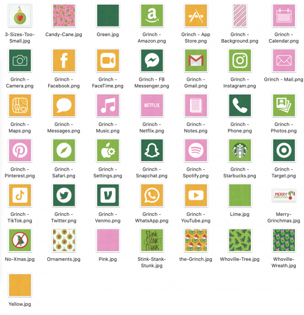 Grinch Christmas Aesthetic App and Widget Icons