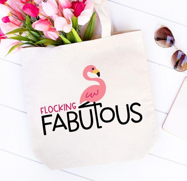 Flocking Fabulous Flamingo Tote made with Free Flamingo SVG