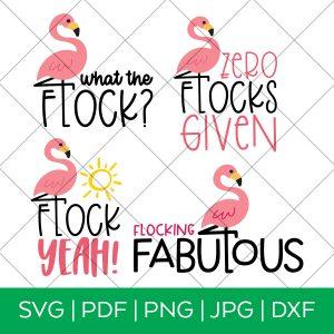 Flamingo Flock SVG File Bundle with Grid