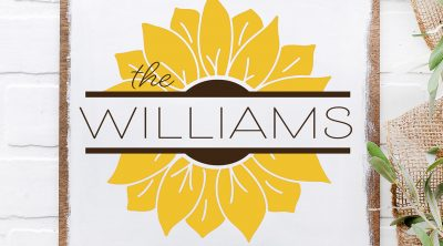 DIY Wooden Sunflower Sign with Free SVG with The Williams name made with Cricut Vinyl