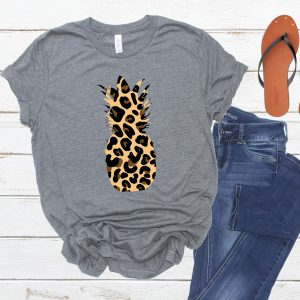 Leopard Print Pineapple on Gray Shirt made with Free Animal Print SVG Files and cut from iron on vinyl on Cricut