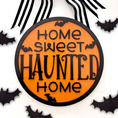 DIY Wooden Halloween Sign with Free SVG File for Glowforge and Cricut